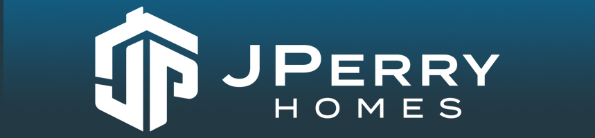 J Perry Homes logo in white with a dark blue background