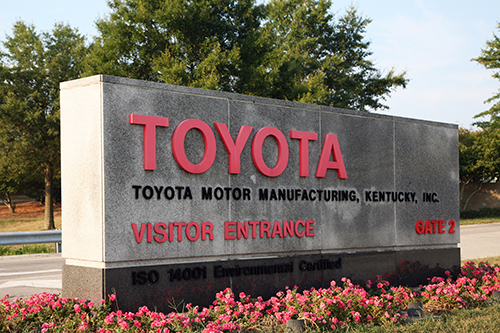 Toyota Motor Manufacturing sign in Georgetown, KY